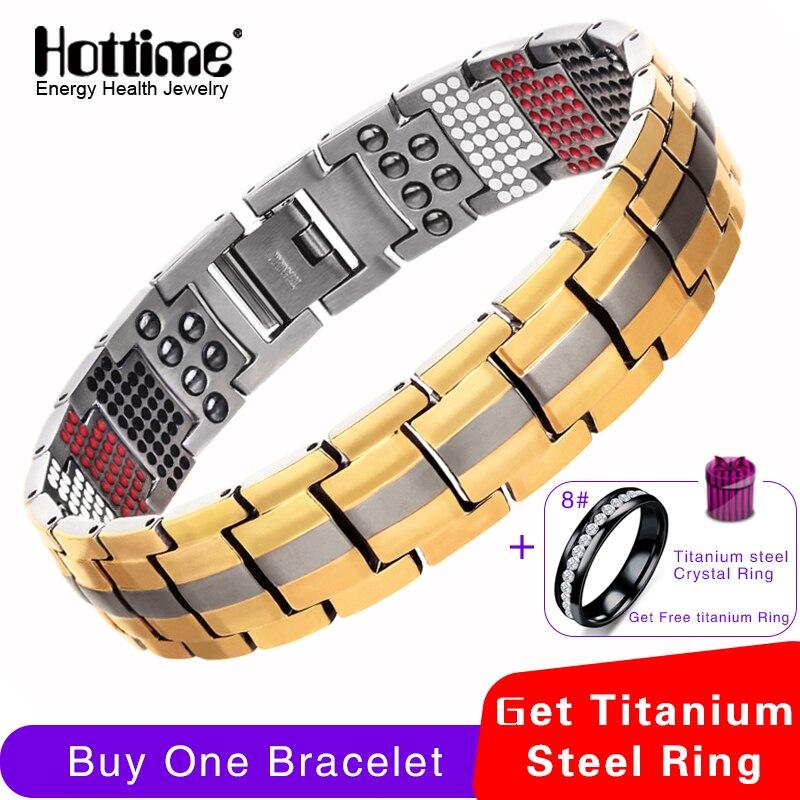 Hottime 591 STÜCKE 4 In 1 Bio-elemente Energie Stein Mode Titan Stahl Magnetische Armband Nie Verblassen Goldene männer schmuck