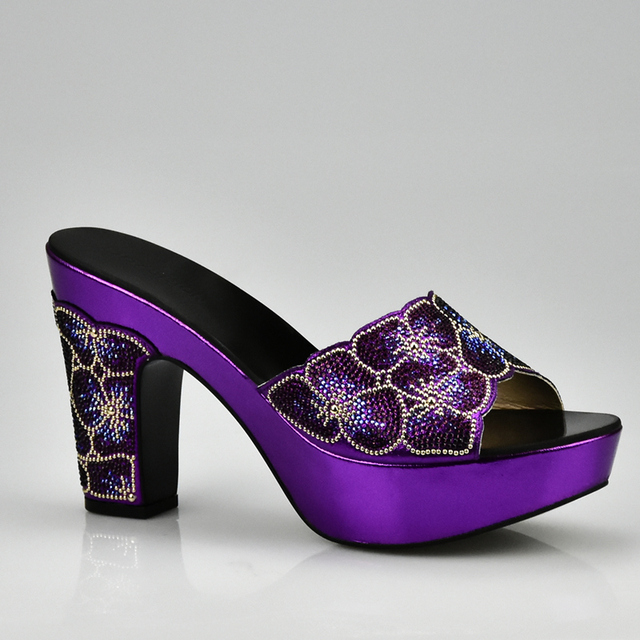 Purple Color Matching Shoe and Bag Set Decorated with Rhinestone African Shoe and Bag Set for Party In Women Italian Ladies Shoe