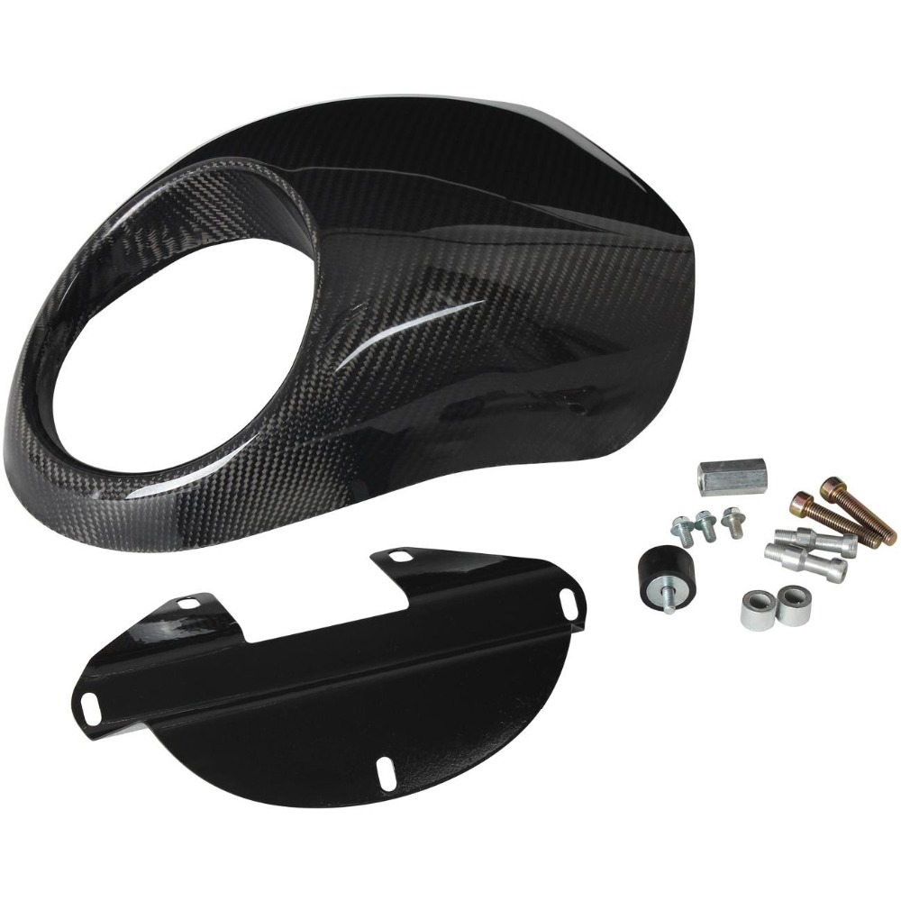 Carbon Fiber Look Motorcycle Front Headlight Fairing Cowl Head Light Lamp Visor Mask For Harley Sportster 883 1200 XL 1973-up for dyna sportster fx xl 39mm cafe racer grille style prison cowl headlight mask front fairing flyscreen fly screen visor