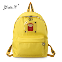 Yeetn H Waterproof Nylon Backpack Cute Embroidery French Fries Girls Backpack Light Boys Travel Bagpack Women