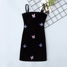 2019 Women Vintage Velvet Black Off Shoulder Butterfly Mini Dress Backless Sexy Spaghetti Strap