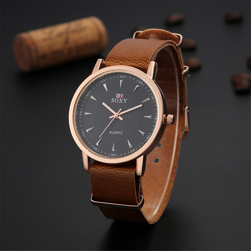 SOXY Luxury Brand Fashion Men's Watch Gold Watches Leather Strap Watch Men Watch Clock saat reloj hombre relogio masculino malloom 2018 clock men luxury brand watch wristwatch men brand sport with leather reloj hombre relogio masculino fashion watch