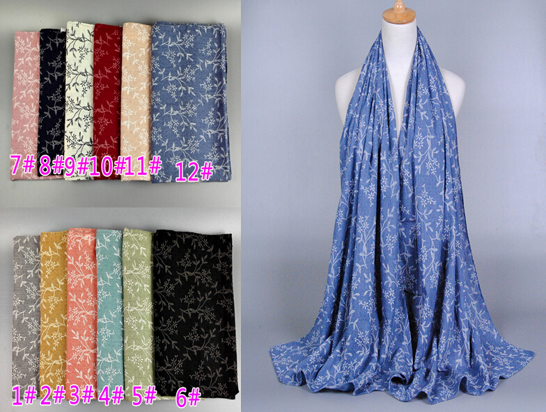 Female fashion printe floral popular long design multicolor autumn cotton shawls head muslim hijab scarves scarf