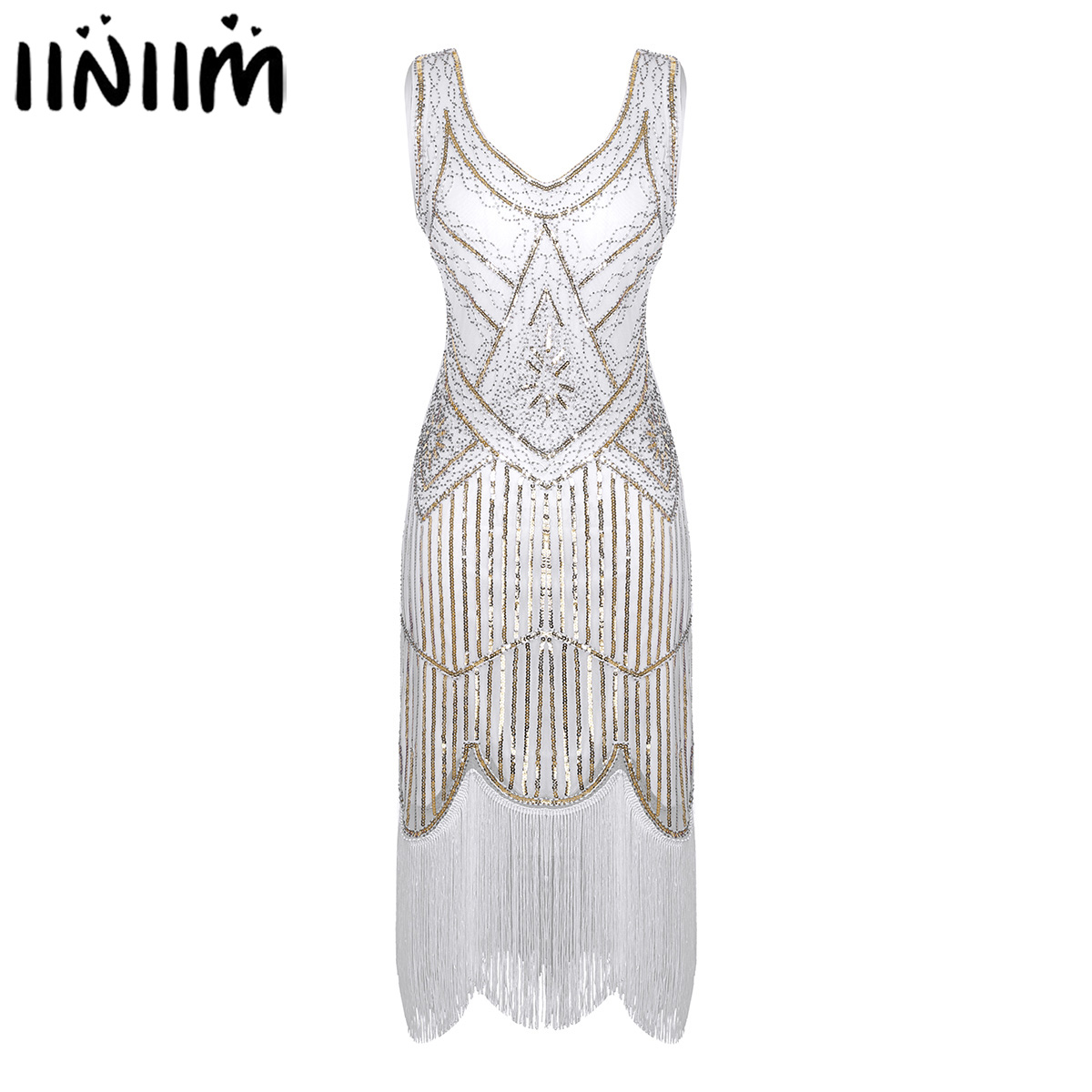 Womens Glitter Reflective Beaded Summer Dress For Jazz Dance Wear Fringed Tassels Hem Flapper Dress Cocktail Leotard Dress