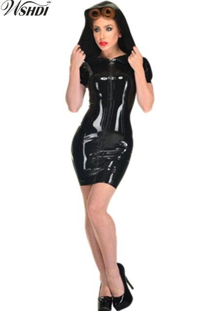 2bb5126fef2a3 S-XXXL Kadınlar Seksi PVC Lateks Elbise Parlak Siyah Kapşonlu Bodycon Suni  Deri Elbise Gece