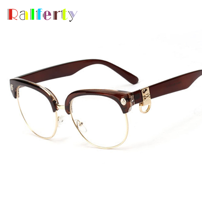 Ralferty gafas mujeres informáticos semi-rimless anteojos marco hombres  miopía prescripción óptica gafas 1269 ec1706b1fa