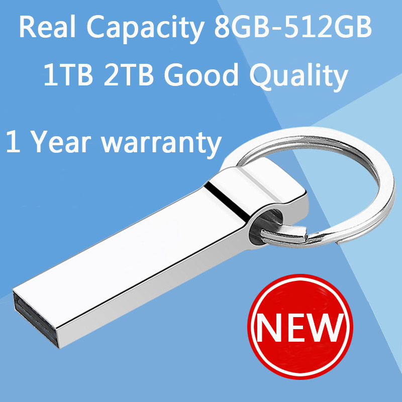 100% Real Hot Metal Key Chain 64GB Mini USB Flash Drive 1TB 2TB 32GB Pen Drives 16GB 8GB Pendrive Memory Stick Disk On Key 512GB