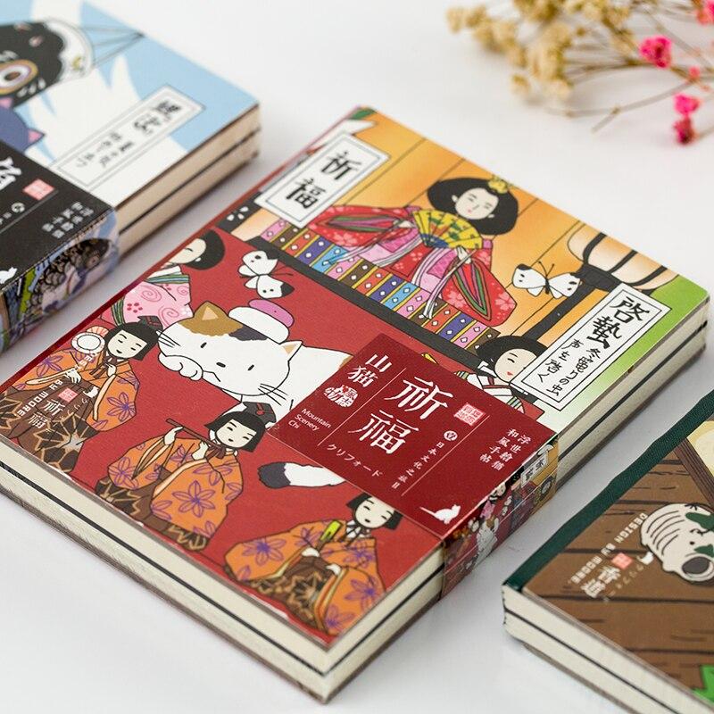 Retro Notebook Gatinho Dos Desenhos Animados do Kawaii Planejador Agenda Sketchbook Capa Mole Do Vintage Jornal Diário DIY Bala 2019 Escola Japonesa