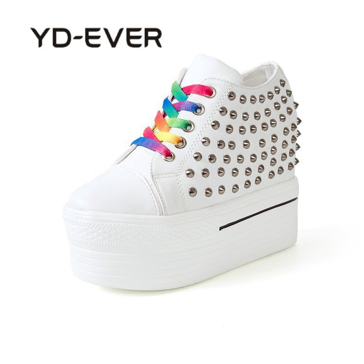 YD-EVER Spring Summer Rivets Shoes For Women Wedges Sneakers Height increase Platform Shoes Fashion Elevator High heel Shoes
