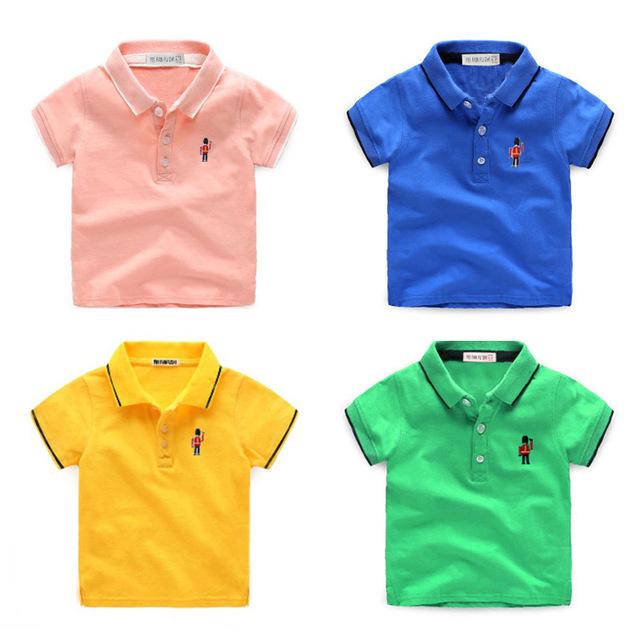 T-shirt da menina do bebê de Manga Curta Camisa PÓLO de Algodão para meninas t camisa para meninos Tee Top Turn-down Collar New Esportes de Verão Lapela