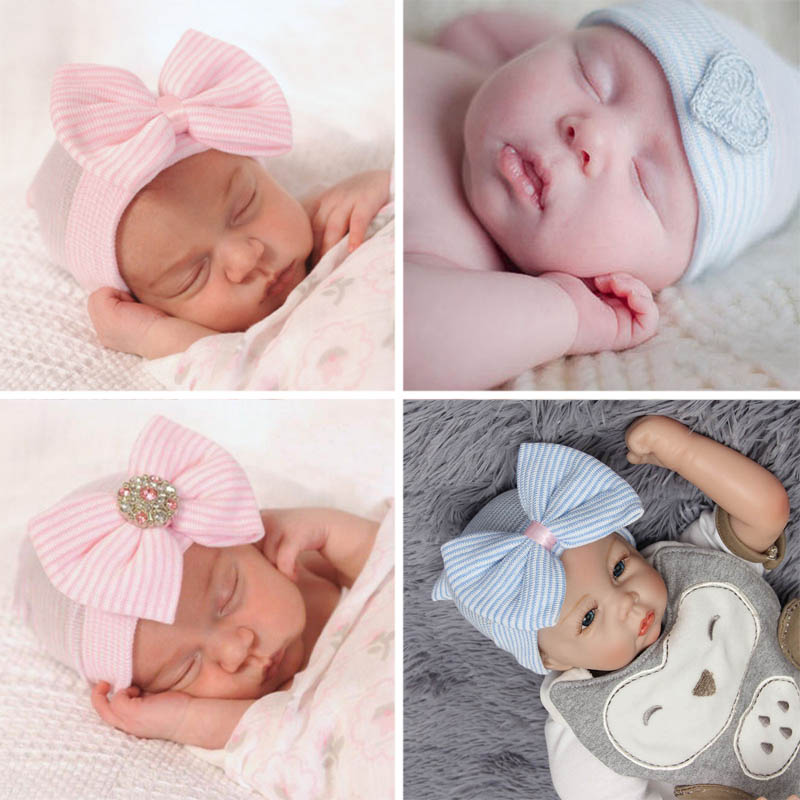 a406214b62d Προϊόν - Crochet Baby Spring Hat Newborn Beanie With Bow For Baby Girls  Cotton Knit Beanie Infant Striped Caps Toddler Hat Accessories