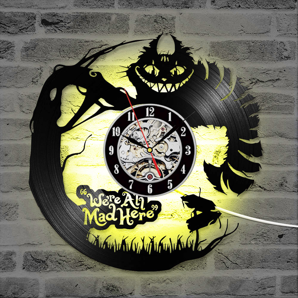3D Cartoon Alice in Wonderland Vinyl Record LED Clock Creative CD Record Clock Antique New Design Hanging Clock Home Decor in Wall Clocks from Home Garden