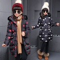 New Winter Long Girls Fashionable Coat Thick Cotton Padded Jacket Kids Clothing Stars Printing Red White Outwear