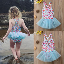Summer Kids Baby Girl Lace Floral Children's Swimsuit Swimwear Bathing Suit Outfit