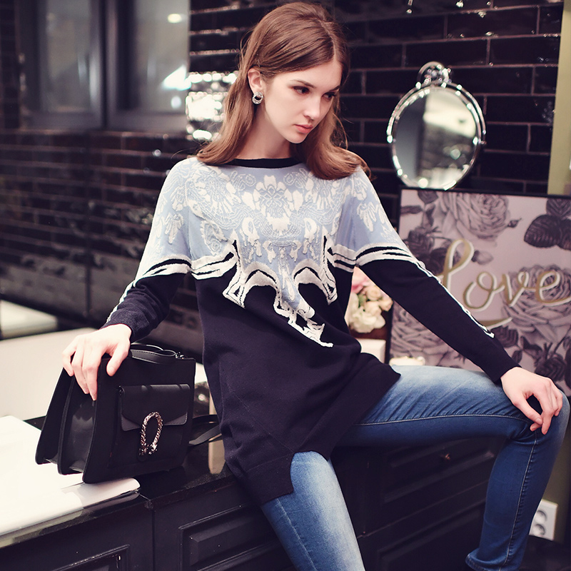 dabuwawa knit pullovers 2017 new autumn winter loose fashion retro jacquard long sleeved long print font