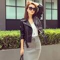 Бесплатная Доставка! 2016 осень новый высокой уличной Моды стиль бренда Женщин натуральная Кожа Короткая Куртка Мотоцикла Верхняя Одежда высшего качества