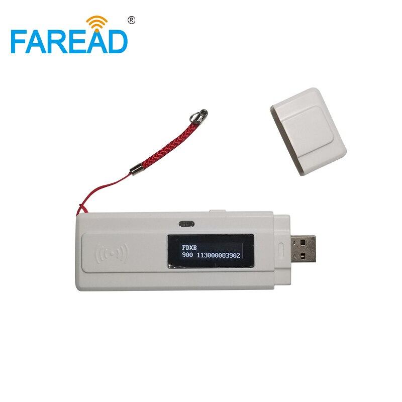 Livraison gratuite x1pc scanner d'identification de microécaillage animal/étiquette d'oreille USB 134.2 Khz RFID FDX-B lecteur de puce portable RFID pour animaux de compagnie