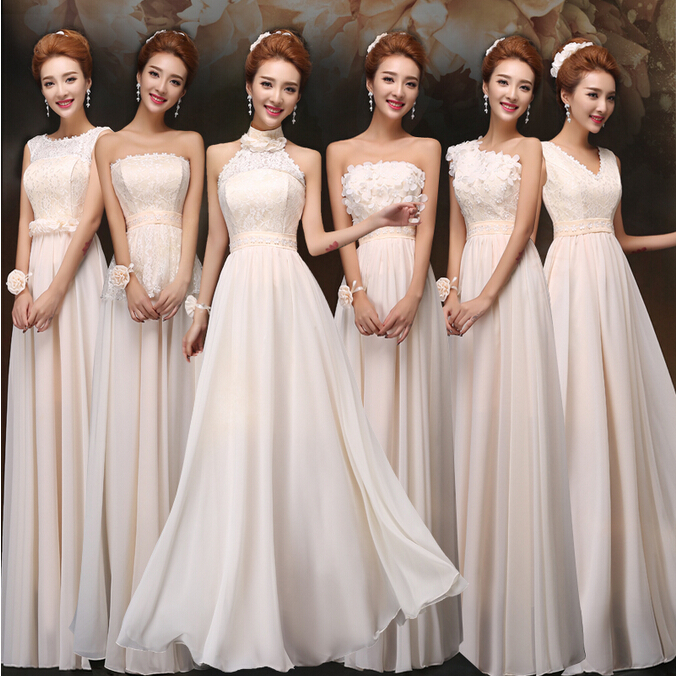 Champagne Colored Bridesmaids Dresses Bridesmaid One Shoulder Chiffon Long Gowns V Neck Wrap Dress For Guests Free Shipping 1878 In From