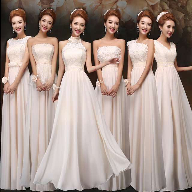 Champagne Colored Bridesmaids Dresses Bridesmaid One Shoulder Chiffon Long Gowns V Neck Wrap Dress For Guests