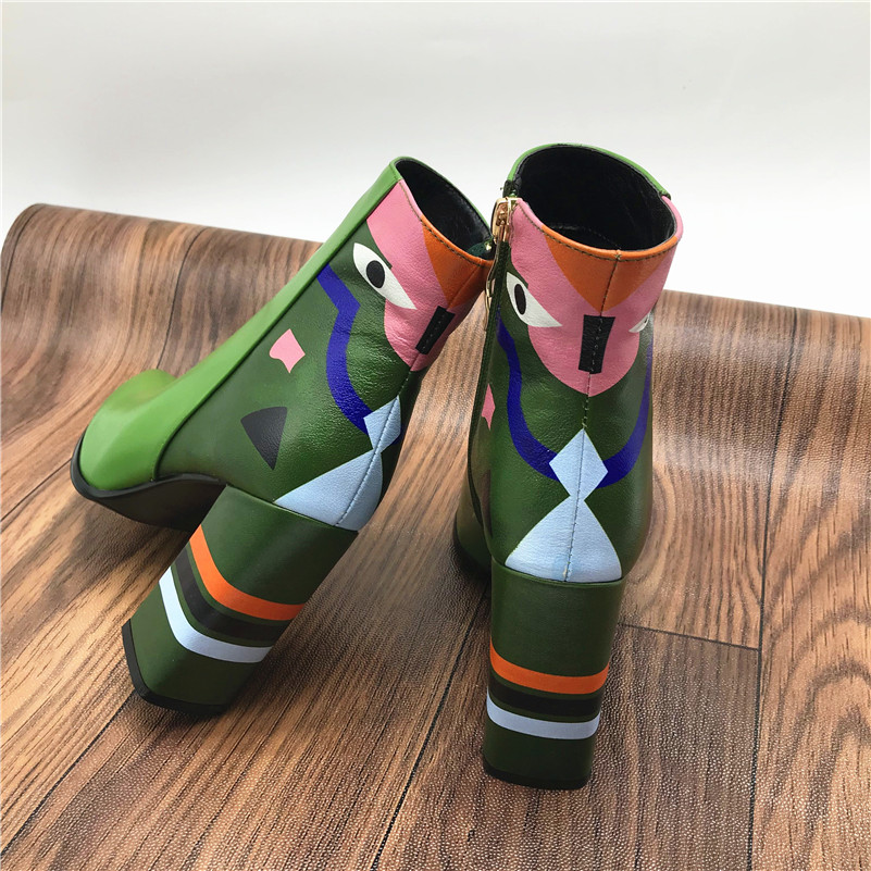 2019 Fashion Brand, Women's Ankle Boots, Print High Heels Martin Shoes, Women's Pumps Basic Leather Boots 26