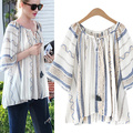 Plus Size 4xl Vintage Floral Striped Women Chiffon Tops And Blouses 2016 Summer White  Deep V-neck Loose Blouse Blusas Y Camisas