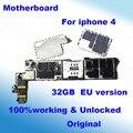 100% desbloqueado original oficial 32 gb mainboard motherboard para iphone 4 4g bom trabalho função completa com chips de placa lógica
