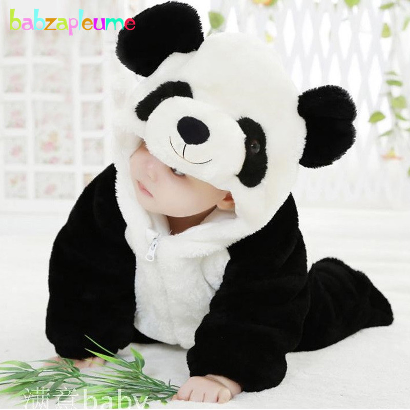 babzapleume Winter Newborn Clothes For Baby Rompers Cartoon Cute Panda Soft Flannel Warm Hooded Jumpsuits Infant Clothing BC1046 0 9months autumn winter baby girls boys rompers cartoon cute thick warm hooded jumpsuits newborn clothes infant clothing bc1225