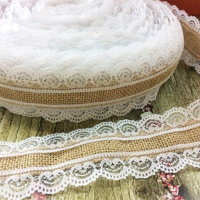 10M Streamer Jute Ribbon Burlap Hessian Lace Jute Roll + White Lace Roll Trim Edge Vintage Party Wedding Decoration