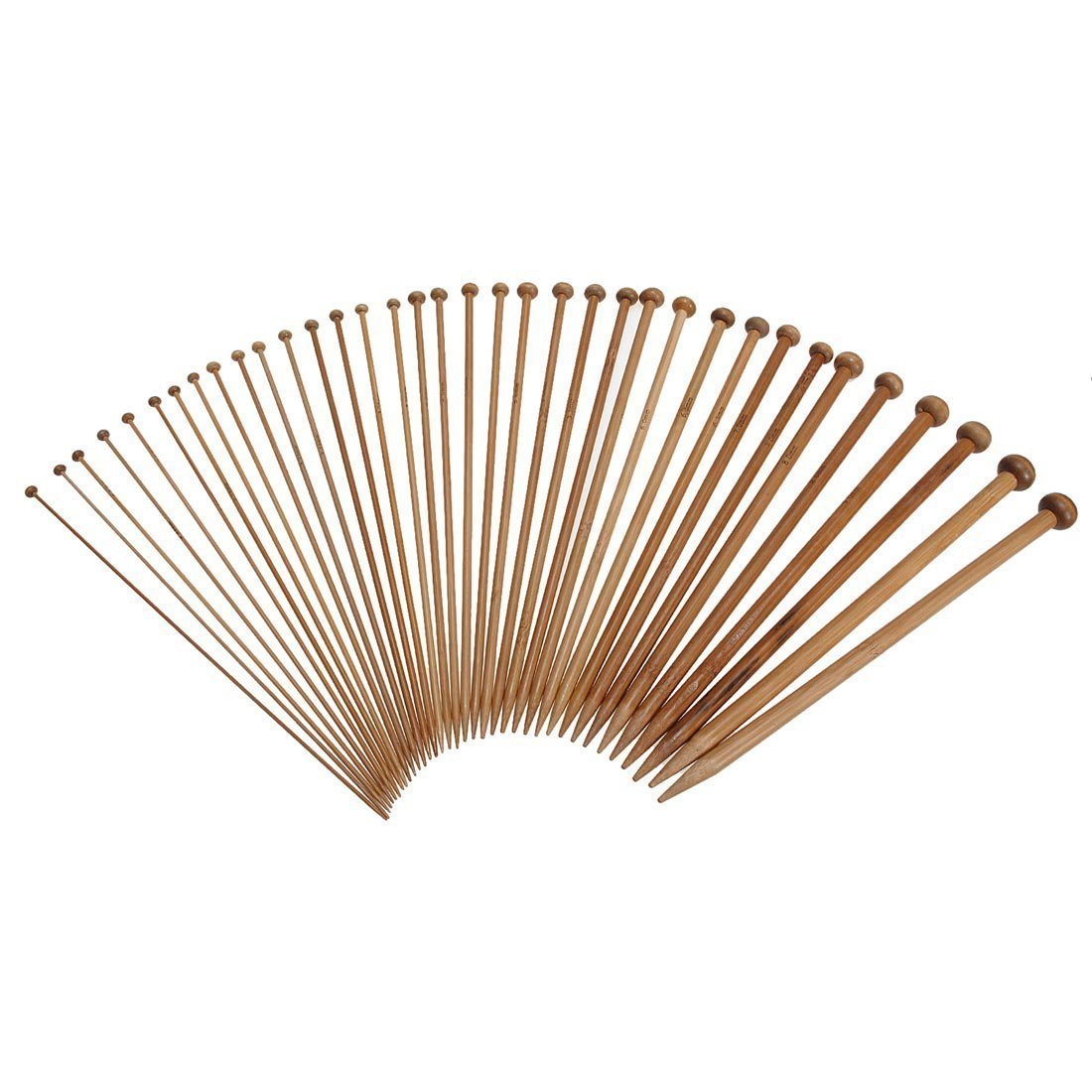 36 Pieces 18 Sizes Carbonized Bamboo Crochet Knitting Needles Single Tip Needles