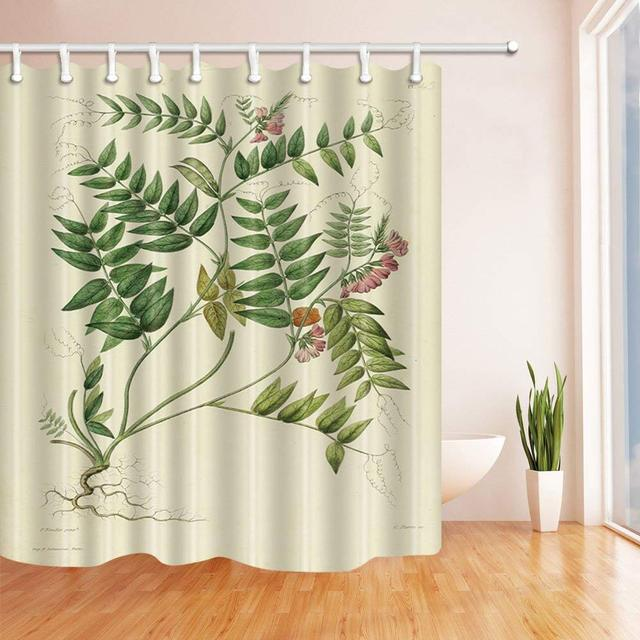 Medicinal Plants With Leaves And Flowers Bath Curtain Polyester Fabric Waterproof Shower Curtains Hooks