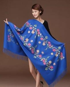 Image 3 - New embroidery Flowers scarf women Cashmere cotton viscose shawls soild plain embroider scarfs muslim tassels hijabs GP02