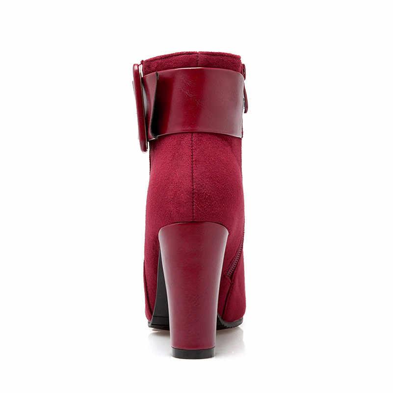 Meotina Sonbahar yarım çizmeler Kadın Toka Kalın Yüksek Topuklu kısa çizmeler Fermuar Kare Ayak Ayakkabı Bayanlar Kış Yeşil Büyük Boy 33- 43