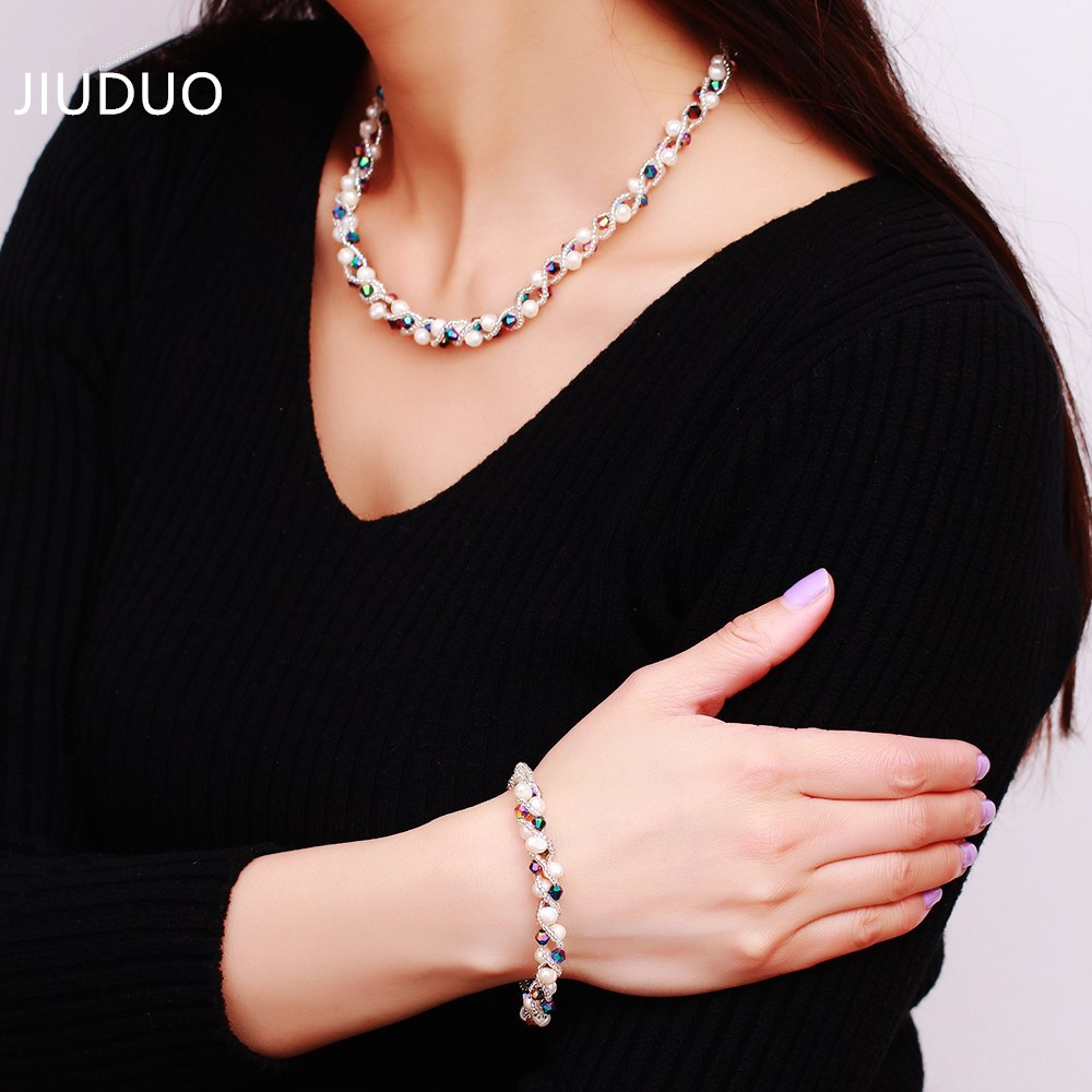 Natural freshwater pearl necklace pearl bracelet earrings set to send her mother gift female models in the elderly jewelry