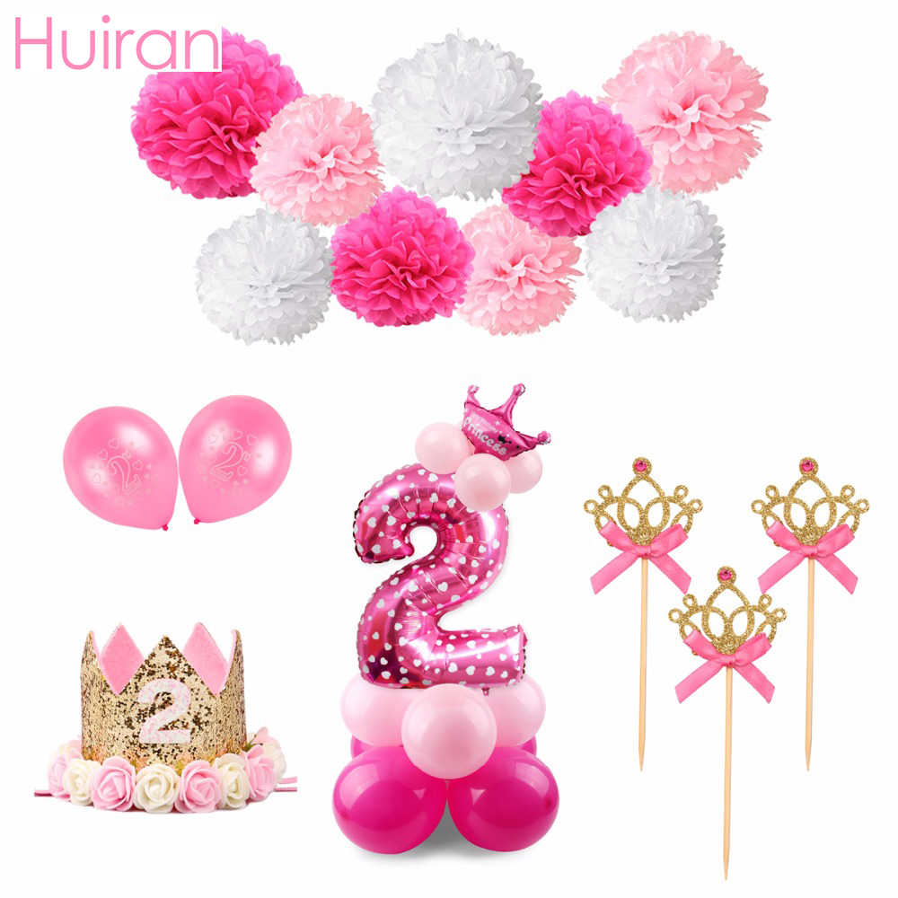 Detail Feedback Questions About HUIRAN Pink 2nd Birthday Outfit 2 Year Party Decor Kids Favors Princess Crown Girl Baby Shower Supplies