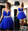 2017 New Sweetheart Deep Sexy Royal Blue Ribbon Beaded A Line Short Cocktail Dress Ruffles Vestidos De Coctel Party Gowns Sheer