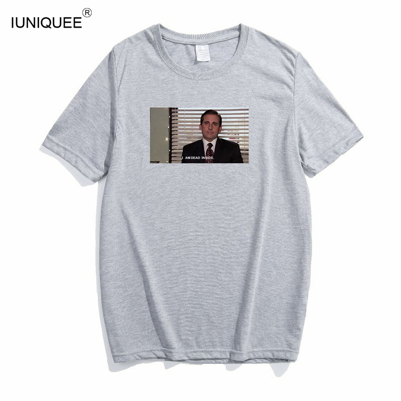 The Office Michael Scott I Am Dead Inside Quotes Funny T-Shirt Unisex Tumblr Grunge Fashion Black White Tee Tshirt image