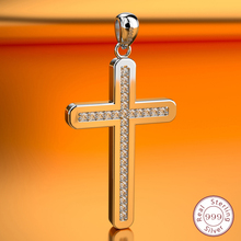 цена на Hot-selling standard 925 Sterling Silver Cross Pendant exquisite mosaic zircon fashion classic jewelry Christianity