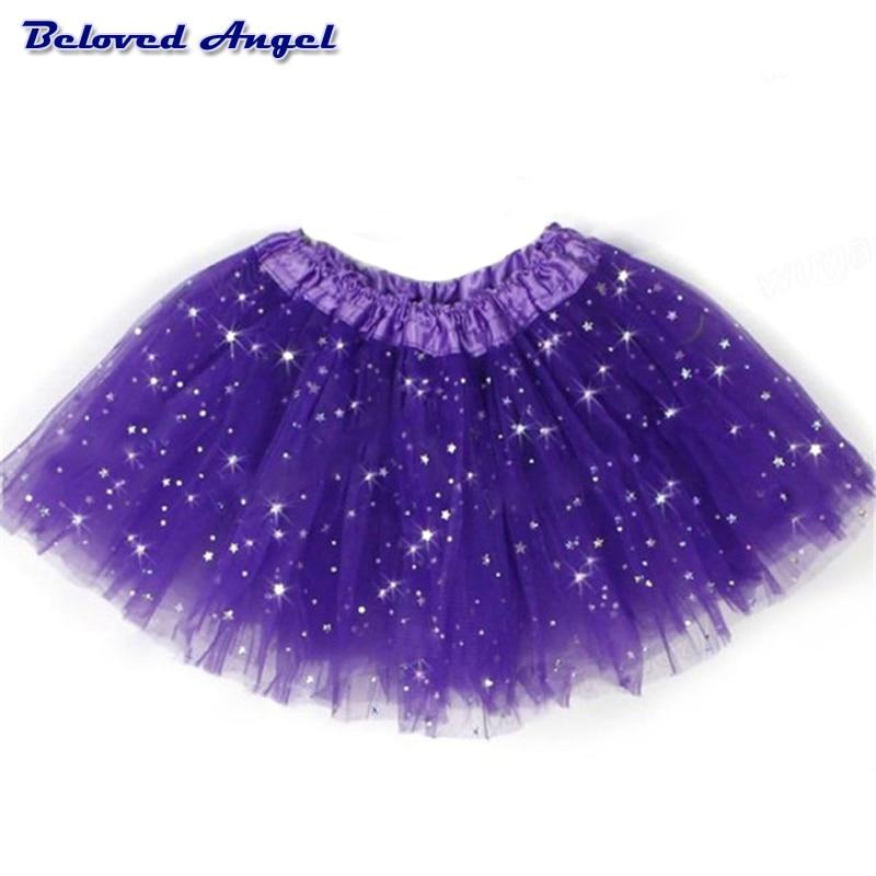 2019 Chiffon Tutus Skirt For Baby Girls Pettiskirt Kids Princess Tutu Mesh Sequin Stars 3 Layers Tulle Toddler Dance Skirts 2-8y