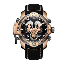 Купить с кэшбэком Reef Tiger/RT Mens Sport Watches with Complicated Dial Rose Gold Case Automatic Military Watch with Rubber Strap RGA3503