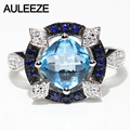 Vintage Charm Natural Topaz Ring 925 Sterling Silver 2.8CT Round Blue Topaz Engagement Party Ring Jewelry For Women Gifts