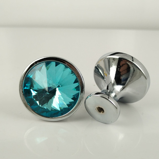 30mm Diamond Crystal Cupboard Door Knob Kitchen Cabinet Dresser ...