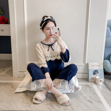 d2ba499813 Princess lolita Korean vision lace hollow sweet soft sister cotton thin pajamas  women