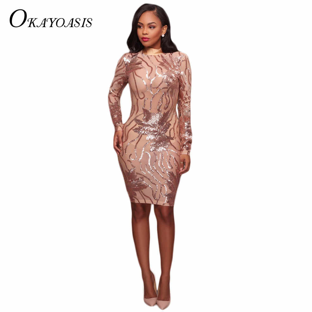 2017 Autumn Sexy Sequins Dress Women Elegant Lady Rose Gold Silm Club  Dresses Fashion Vestido De e854893ef39b