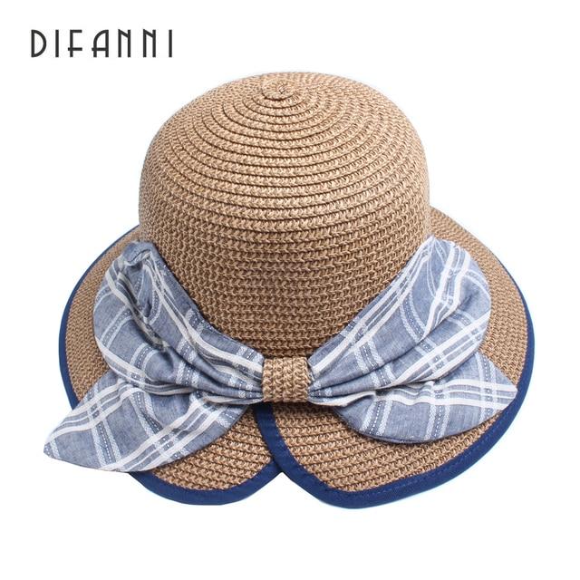 4c72f844bbb Difanni Fashion Summer Hats For Women Wide Brim Ribbon Butterfuy Bow Sun  Hat Visor Panama Straw Bucket Hat Beach Travel Chapeu