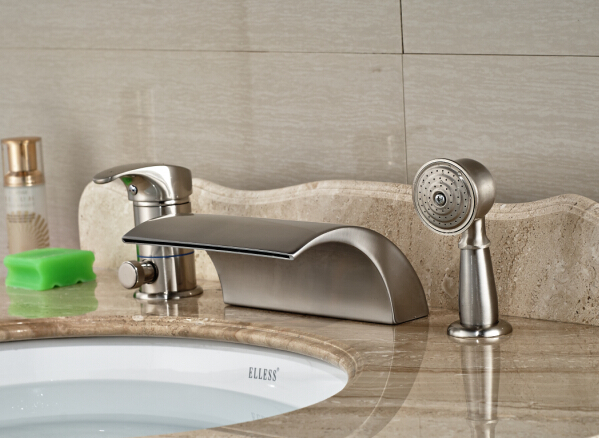 Luxury Nickel Brushed Bathroom Deck Mounted Waterfall Basin Faucet Sink Mixer Tap With Hand Shower стоимость