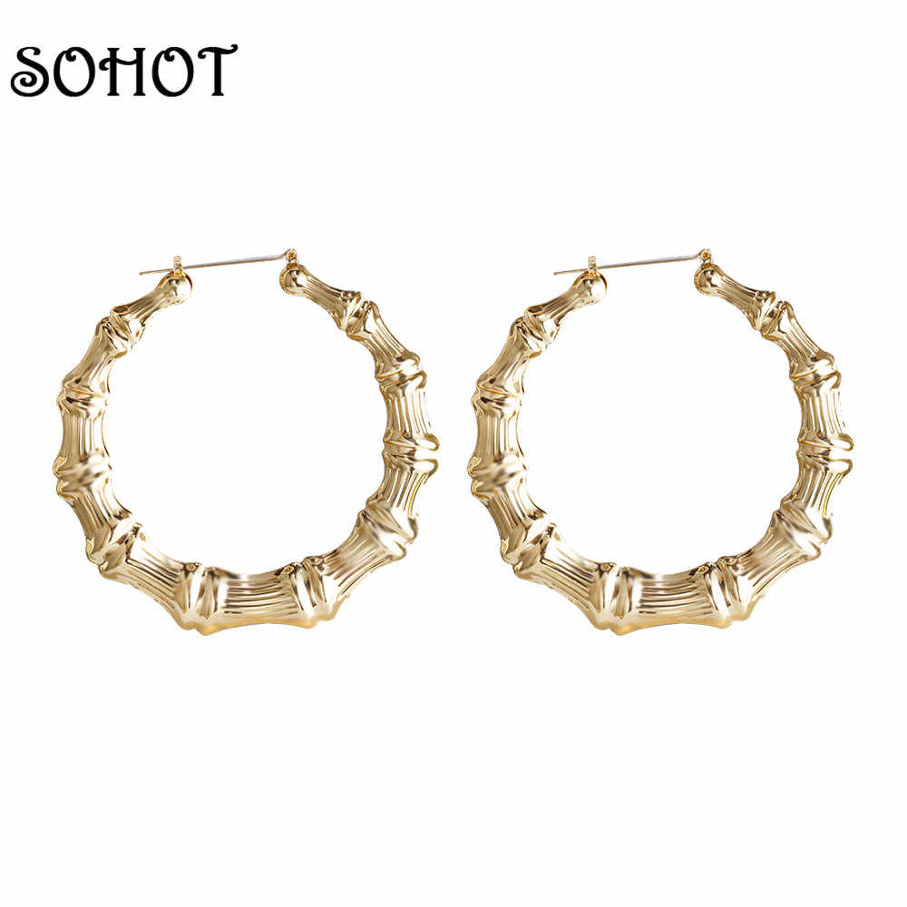 771e0d9db 2019 Trendy Bamboo Hoop Earrings Women Female Gold Silver Color Color Classic  Jewelry