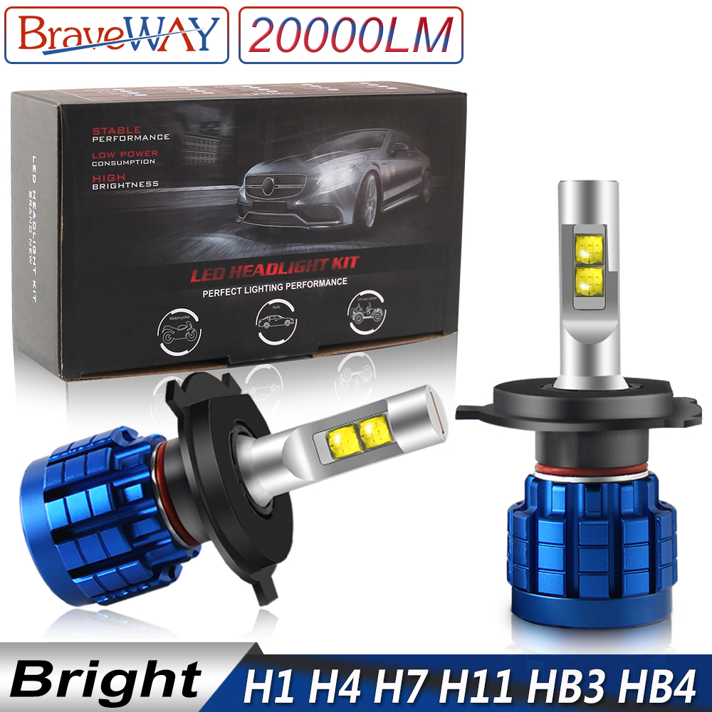 BraveWay 20000LM LED Headlight Bulb H1 H4 H7 H8 H9 H11 HB3 HB4 Canbus Lamps 9005 9006 for Cars Light Bulbs