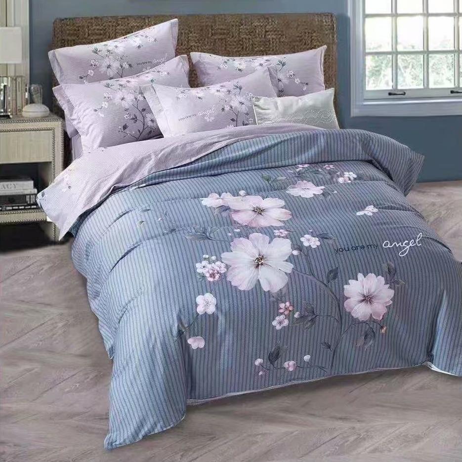 Vertical Stripes Floral Print Cotton Bedding Set Queen