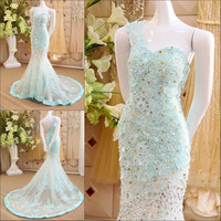 2016 Sexy Mermaid Muslim Evening Dress With Crystals Lace One Shoulder Lace up Long Luxury Formal Dresses Robe De Soiree IZ525
