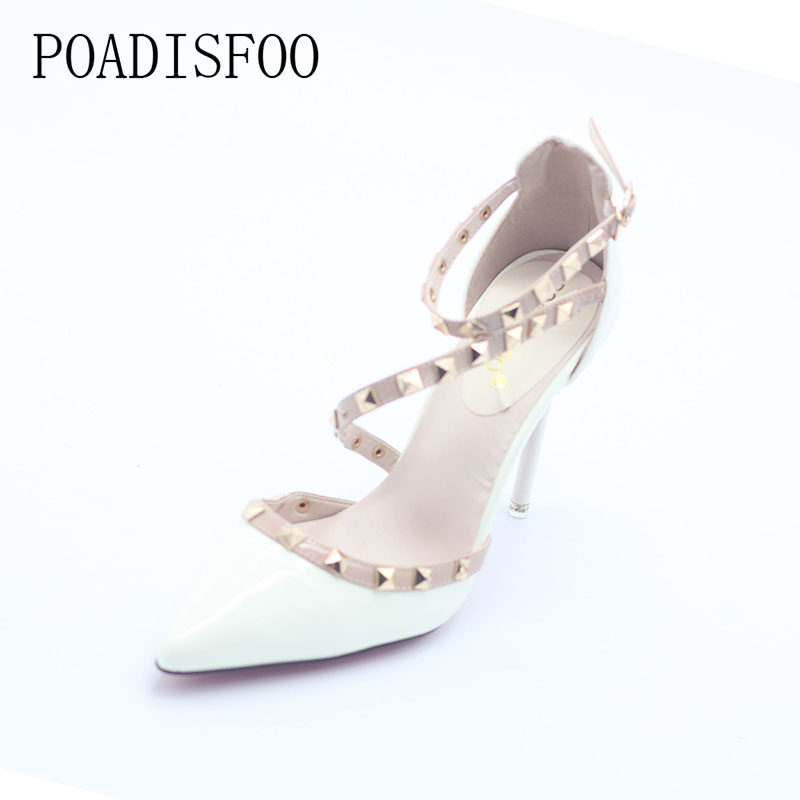 POADISFOO simple sexy nightclubs high heeled shallow mouth pointed rivets women s shoes Ankle Strap High